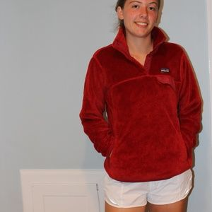 Red Patagonia Fleece 3/4 Pullover